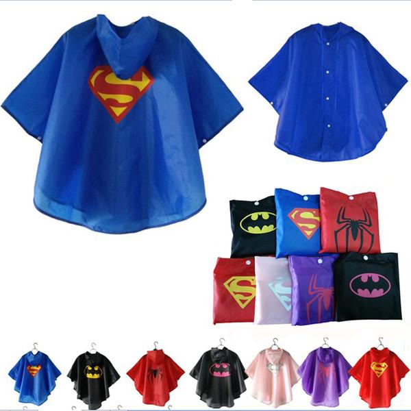 7 renkler Çocuk Yağmurluk Giysileri Su Geçirmez Süper kahramanlar Rainwear Çocuklar için Dış Giyim Giyim DHL Ücretsiz Nakliye Rainsuit