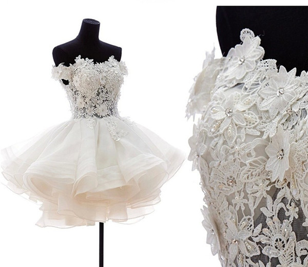 Off Shoulder Ball Gown Wedding Dresses 2019 Short Sexy Bride Gowns Puffy Tulle Party Organza Bridal Gowns Back Zipper and Button Customized
