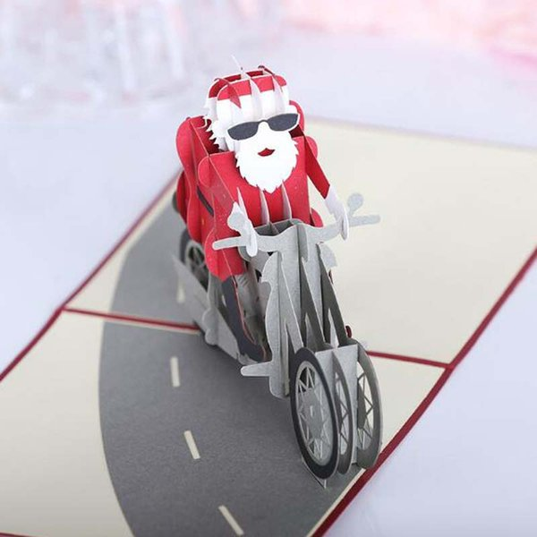 50pcs Santa Motorcycle Origami 3D Pop UP Greeting Cards Invitation card For Wedding Christmas Birthday Party Gift free shipping
