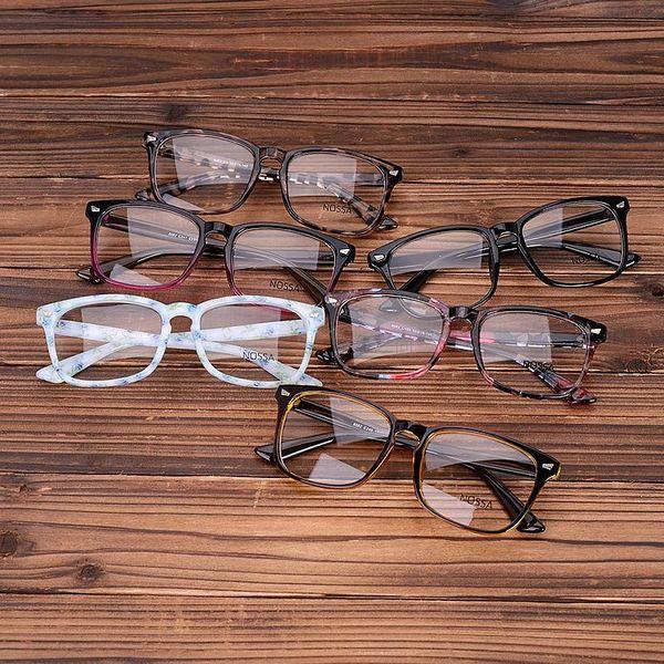 Wholesale- Acetate Eyeglasses Frames Clear Lens Fake Glasses Leopard Transparent Brown Vintage Glasses Eyewear Spectacle Frames Women Men