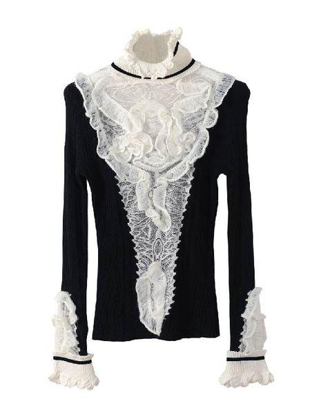 Großhandels-Rüschen Rollkragenpullover Pullover Pullover Frauen hohe Qualität Marke Winter Vintage Flare Ärmel Wollpullover