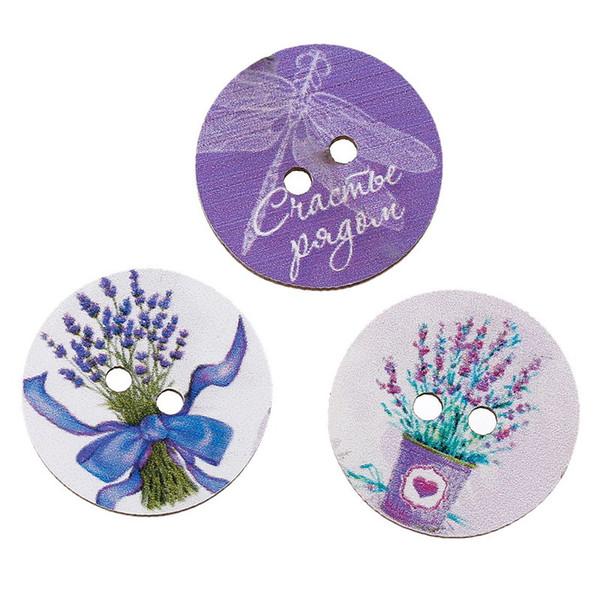 Toptan Sıcak 30 Adet Renkli Çiçek Desen 4 Delik Ahşap Düğmeler Zanaat Ve Scrapbooking düğmesi Dikiş Aksesuarları ahşap düğmeler boya