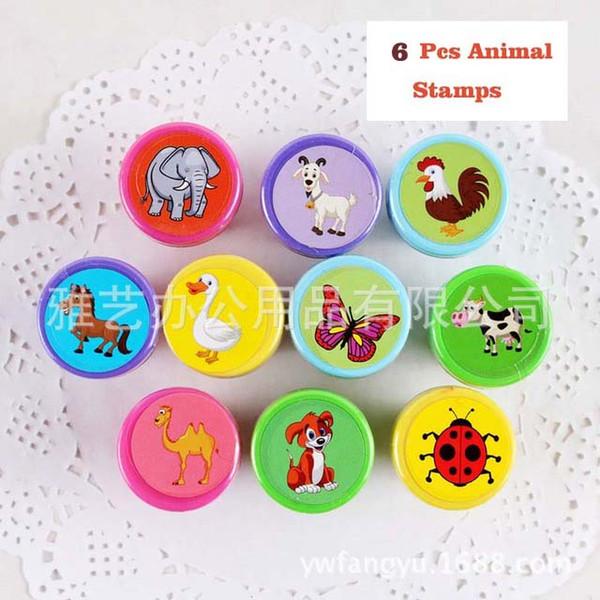 60 pcs Crianças Animal Joaninha Cavalo Cão Elefante Borboleta Dos Desenhos Animados Selo Crianças Personalizado De Plástico De Borracha Auto Tint ...