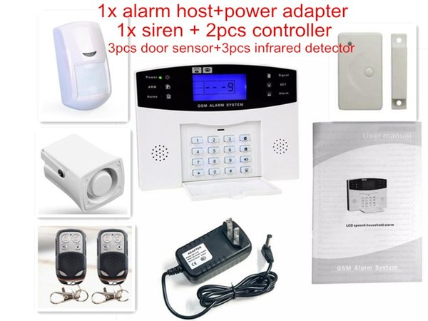 Wholesale- 8 Wired Defense Zone LCD Display Home GSM Voice Alarm System with Door Sensor PIR Detector intercom Monitor Wireless Quad Band