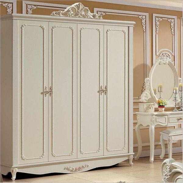 hot selling new arrival four door wardrobe modern European whole wardrobe French bedroom furniture wardrobe pfy10051