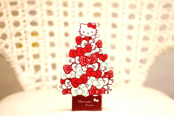 Hello Kitty Christmas.Wholesale Cartoon Hello Kitty Christmas Birthday Party Hard Paper Envelopes Invitation Card Stereo Gift Card Comments Card Free Birthday Greeting