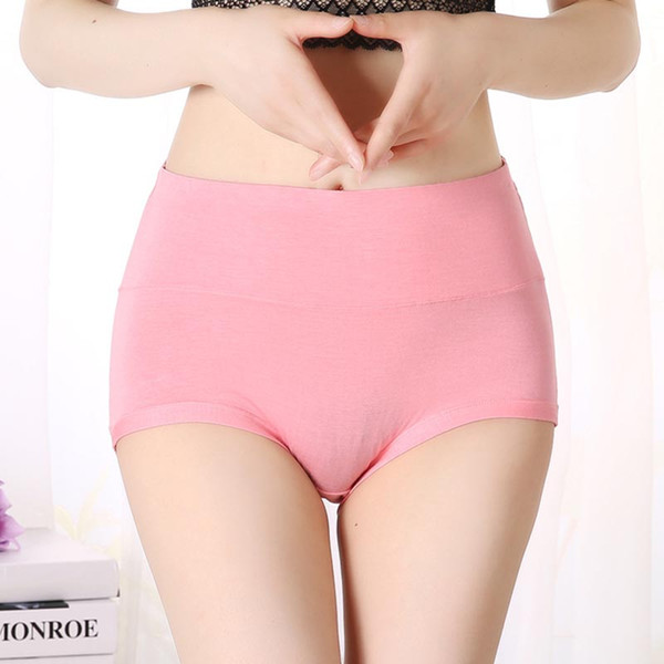 4XL/5XL Size Pure Color Panties Large Size Modal Fabric Briefs Women High Waist Underwear XL Size Undies X-Large Hiphuggers for Female