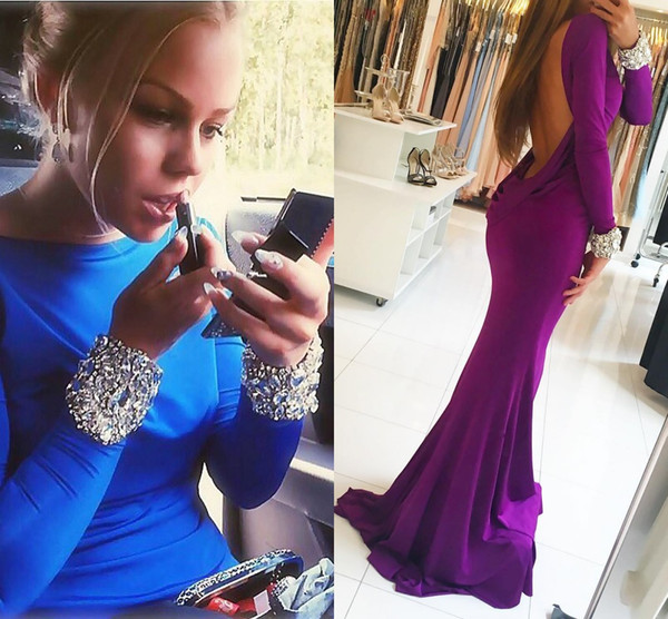 Purple Backless Mermaid Prom Dresses Bateau Neck Long Sleeves Crystal Beaded Spandex Royal Blue Evening Gowns Formal Dresses