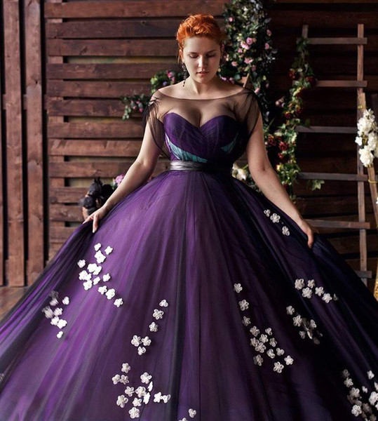 Stylish Purple Plus Size Prom Dresses Floral Applique Sheer Bateau Neck  Evening Gowns A Line Sweep Train Tulle Formal Dress Special Occasion  Dresses ...