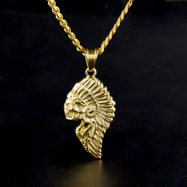 Punk Silver Gold Plated Indian Chief Skull Pendant Vintage Rock Eagle Stainless Steel Native Hawk Charm Necklace