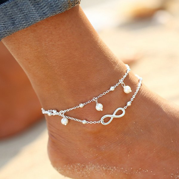 best selling Vintage Fashion Summer Beach Anklet Bracelet Infinity Foot Jewelry Pearl Bead Gold Silver Chain Anklets Foot Chain for Women Lots Wholesale