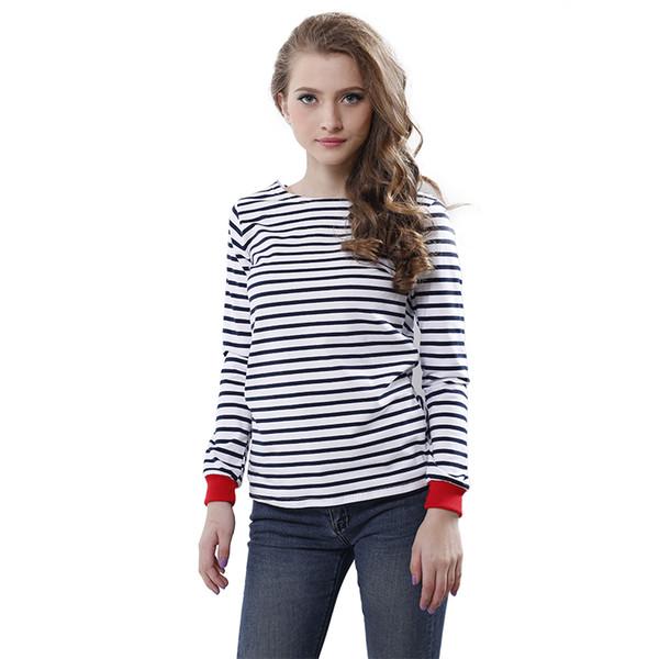 Venta al por mayor-alta calidad de las nuevas mujeres Tops O-cuello de la camiseta de manga larga con rayas blancas y negras camisetas en blanco y negro Tees
