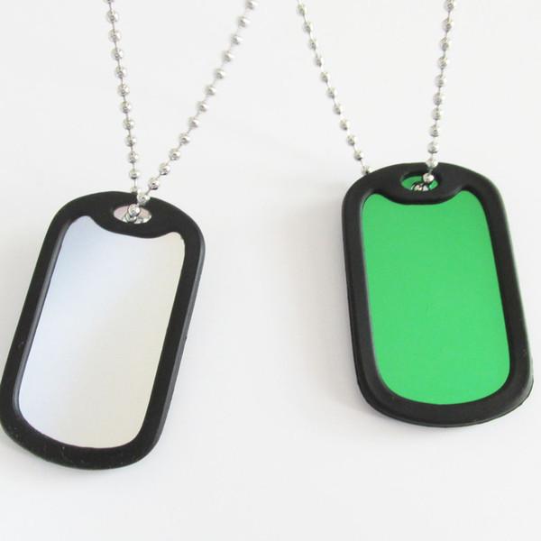 20pcs placas de identificación militares en blanco, aleación de aluminio etiquetas de identificación del ejército en blanco con silenciador y cadenas de cuentas
