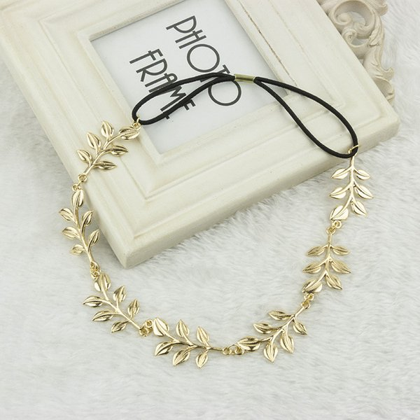 wholesale NEW 240pcs fashion hot style hair band lady gold Olive leaf headband head piece chain leaves golden elastic band head band