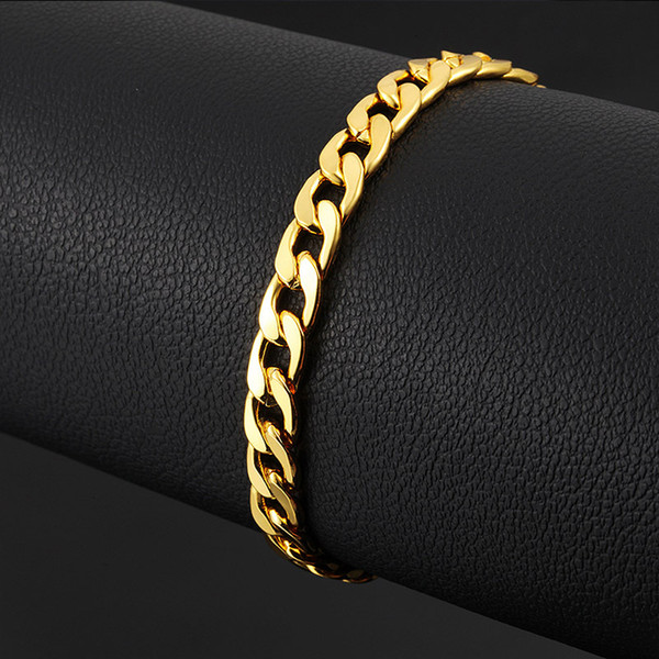 2bf4c757eab3e 2019 24K Ywllow Gold Pure Copper Bracelet Men/Women Jewelry Wholesale  Trendy Silver/Gold Color 20CM 6MM 10MM Thick Cuban Link Chain Bracelets  From ...
