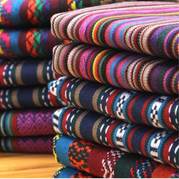 best selling (50cm lot) vintage fabric for sewing ethnic decorative jacquard yarn dyed fabrics DIY cloth tecido telas fat quarters quilting for patchwork