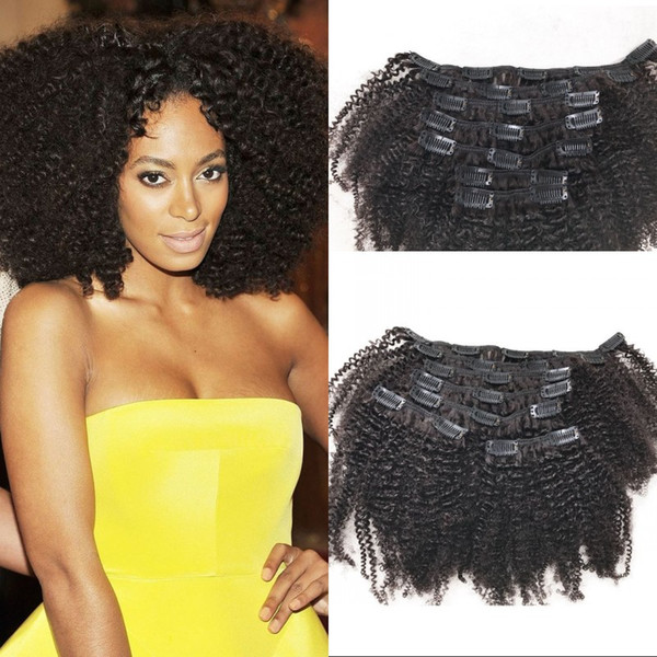Remy Human Hair Clip In Extensions for African American 4a Mongolian Afro Kinky Curly Hair Clip Ins 8-24 inch FDSHINE