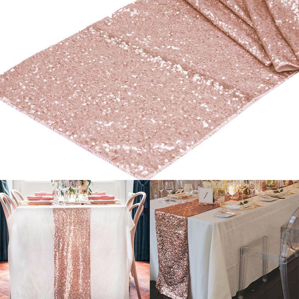 "best selling Wholesale- 1pcs 12""x108"" Rose Gold  Champagne Sequin Table Runner 30x275cm Sparkly Wedding Party Decor Party Event Bling Table Decoration"