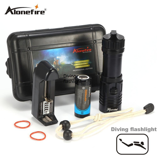 AloneFire DV32 Diving Flashlight CREE XM-L2 Underwater Waterproof Tactical Flashlight support for 18650 ro 26650 batteries