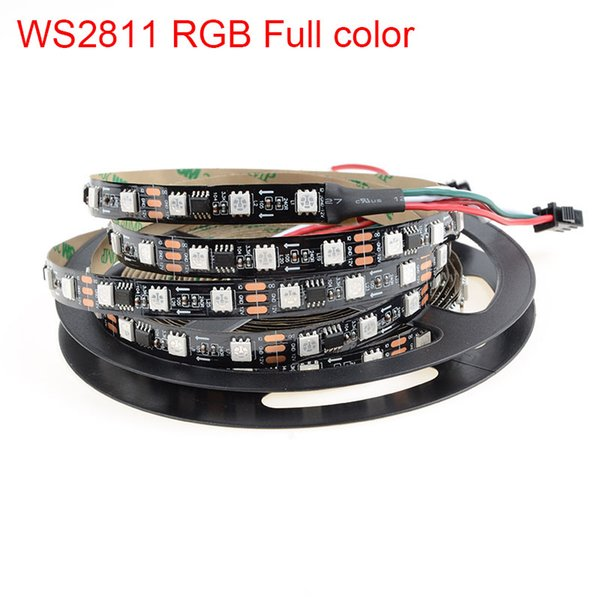Wholesale-5m smd5050 RGB ws2811 led strip light 30/60 led/m IP20/IP67 Black/white PCB dc12v 2811 IC Dream Magic Color flexible strip light