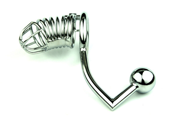 FREE SHIPPING!! Male Chastity Devices Cock cage+Anal Hook With Ball Metal Chastity belt Cock Lock bdsm bondage