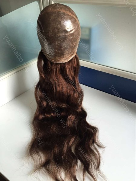 Grade 8A Super Thin Skin Silicone Wig Loose Wave Virgin Brazilian Human Hair Color #4 Brown Full Thin Wig Free Shipping