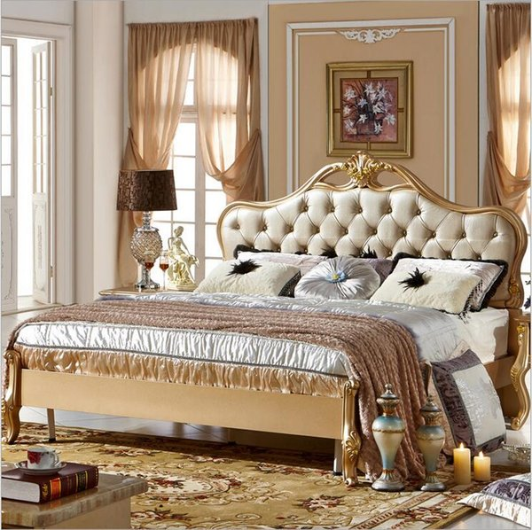factory price king size leather modern european solid wood bed Fashion Carved bed french bedroom furniture 10066