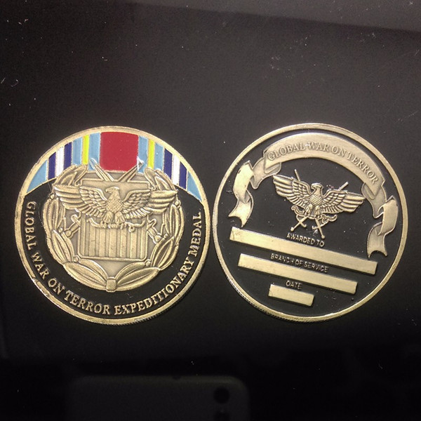 50pcs/lot Global War On Terror Defending Freedom Challenge Coin Free Shippin Zinc Alloy with Bronze Plating