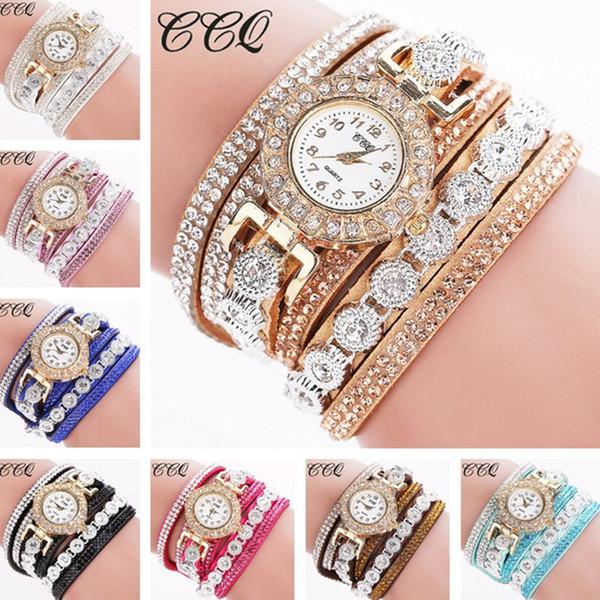 orologi moda casual di lusso orologio da polso per donna orologi da polso in pelle da donna avvolgente polso infinito strass bracciali
