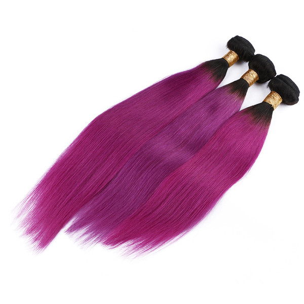 Dark root Ombre Rose Red Cosplay Two Tone Straight Hair Extension 1b Purple Human Hair Bundles 3pcs Lot Pink Color Cosplay Hair Extension