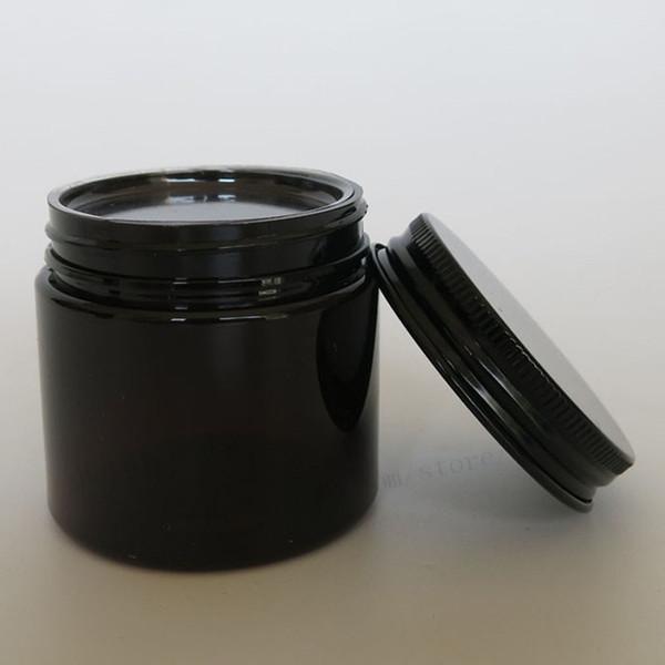 Vente en gros- 30pcs / lot 50g pot de crème d'ambre d'ANIMAL FAMILIER, récipient cosmétique de 50cc avec des couvercles en aluminium noirs