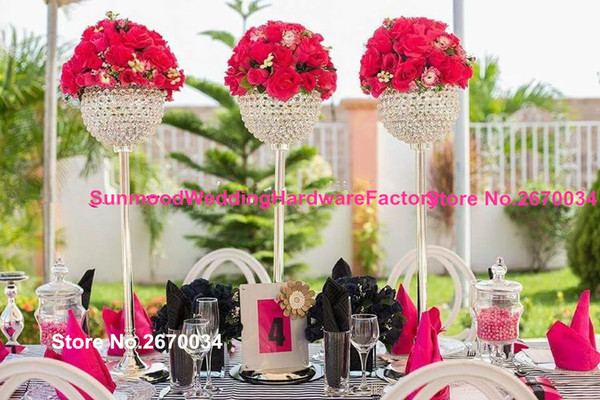 Good quality tall vase for wedding table centerpiece decoration glass crystal flower pot