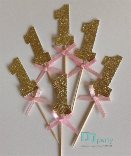 Wholesale-20pcs custom number Gold Glitter Cupcake Toppers with Pink Bow 1st Birthday wedding toothpicks Bridal baby shower party decor