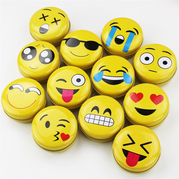 12 Pieces/Lot Cheap Cute Small Candy Boxes Round Smile Face Printing Metal Tin Box Coin Sorage Box Tea Container Wholesale Free Shipping