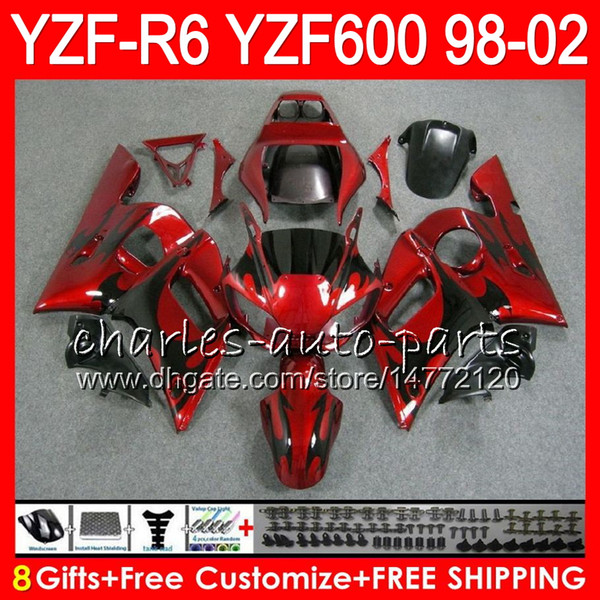 best selling 8Gifts 23Color For YAMAHA YZF600 YZFR6 98 99 00 01 02 YZF-R600 54HM2 black flames YZF 600 YZF-R6 YZF R6 1998 1999 2000 2001 2002 Fairing kit