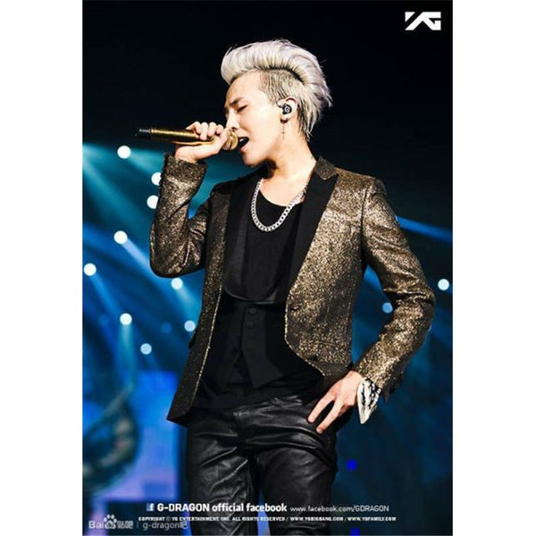 Wholesale- Hot selling Mens Costume Deluxe Men's Gold Sequin Jacket Costume BIG BANG Cosplay G-Dragon Costume