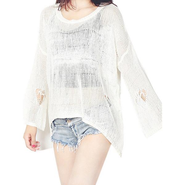 Branco Preto De Malha Crochê Mulheres Blusas Moda Primavera Outono Kimono Malhas Oco Out Camisa Túnica Tops Blusa Feminina WT52019
