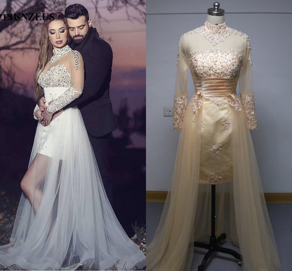 High Neck Long Sleeve Wedding Dresses With Detachable Skirt Lace Appliques Sparkle Beaded Sexy Arabic Design Wedding Gowns Bride Trouwjurk Lace Bridal
