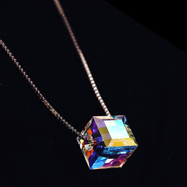 5pcs/lot Hot New 925 Sterling Silver Colorful Cube Crystal Pendant Necklaces Sterling Silver Chain Statement Necklace Fashion Jewelry
