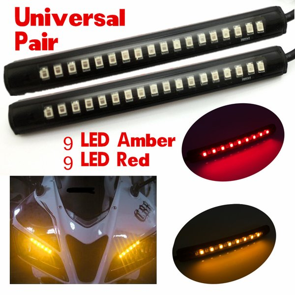 2x Universal Flexible 18 LED Amber/Red Motorcycle ATV Tail Brake Stop Turn Signal Taillight Warnning Strip Light