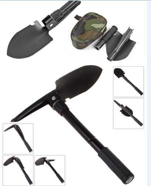 Multi-function Garden Outdoor Portable Folding Camping Shovel Survival Spade Trowel Outdoor Spade Trowel Dibble Pick Emergency Tool w/pouch