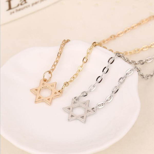 Europe and America hot sale Elegant hexagonal star pendant necklace Clavicle chain Star of David hexagram jewelry