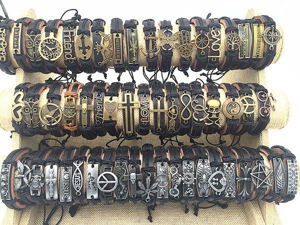 Atacado 100 pçs / lote Mix Estilo De Couro De Metal Cuff Charm Bracelets Para Presentes das Mulheres Dos Homens Jóias Partido Pulseira