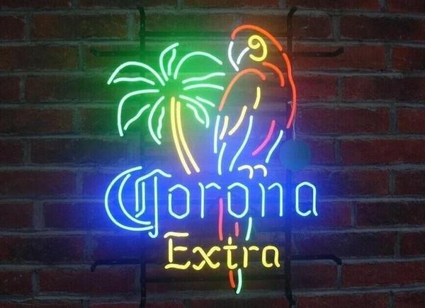 "New Style Corona Extra Parrot Bird Left Palm Tree Neon Sign Beer Bar Light 17""x14"""