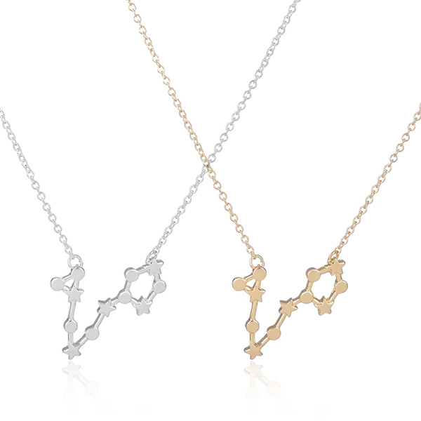 Wholesale-New Pisces Zodiac Signs Pendant Necklace 2016 Fashion Astrology Star Necklaces for Women Long Chain Party Necklace -N174
