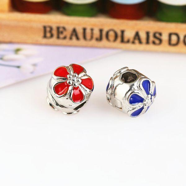 Colorful Daisies DIY Lock Clip Clasp Alloy End Beads European Stopper Flower Beads Fit Pandora Charm Bracelet Bangles Necklace