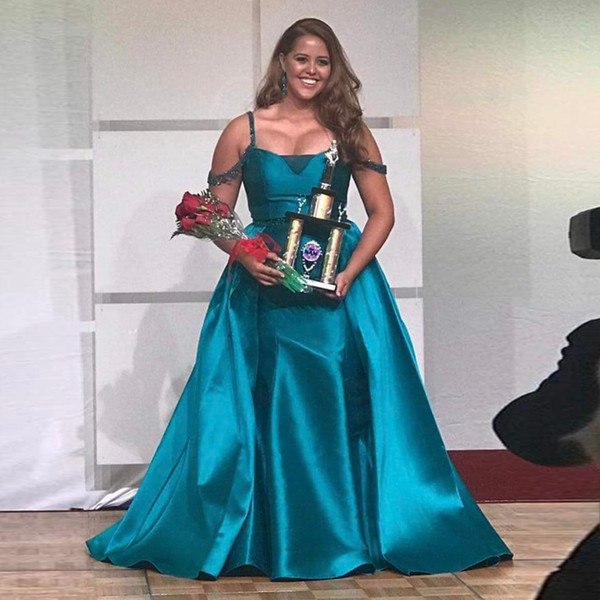 Newest Plus Size Mermaid Prom Dresses Spaghetti Straps Off Shoulder Beading  Satin Over Skirt Green Turquoise Pageant Dresses Evening Gowns Lace ...