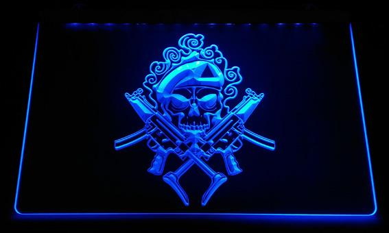 LS2305-b Double gun skull LED Neon Light Sign Decor Free Shipping Dropshipping Wholesale 6 colors to choose