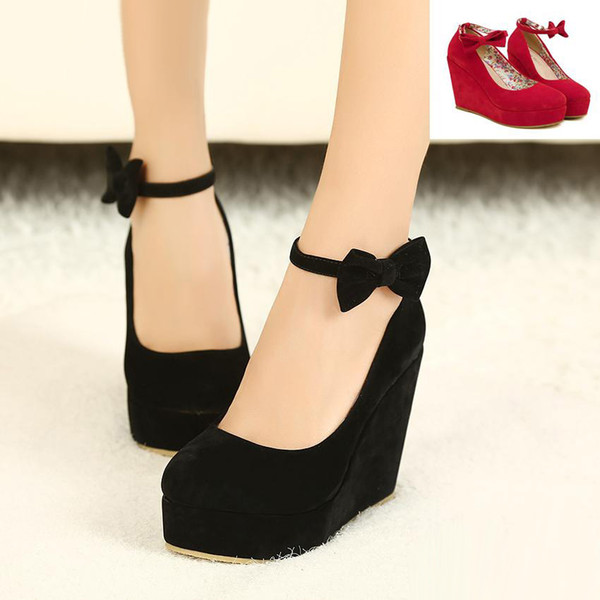 black bowtie plarform wedges womens red ankle strap high heel wedding shoes 2 colors size 35 to 39