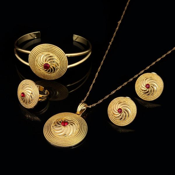 Cappello in bambù NEW 24K Set gioielli in oro GF CZ rosso verde blu in pietra braccialetto ciondolo collana catena orecchini anello sposa set da sposa